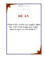 """Tài liệu Đề án """"Phát triển và đào tạo nguồn nhân lực Việt Nam trong quá trình chuyển dịch cơ cấu kinh tế"""" pdf"""