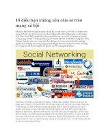 Tài liệu 10 điều bạn không nên chia sẻ trên mạng xã hội docx
