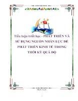 Tài liệu Tiểu luận triết học - PHÁT TRIỂN VÀ SỬ DỤNG NGUỒN NHÂN LỰC ĐỂ PHÁT TRIỂN KINH TẾ TRONG THỜI KỲ QUÁ ĐỘ pdf