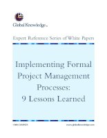 Tài liệu Implementing Formal Project Management Processes: 9 Lessons Learned ppt