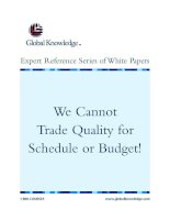 Tài liệu We Cannot Trade Quality for Schedule or Budget! ppt