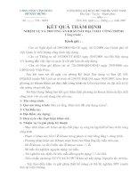 KẾT QUẢ THẨM ĐỊNH NHIỆM VỤ VÀ PHƯƠNG ÁN KHẢO SÁT ĐỊA CHẤT CÔNG TRÌNH