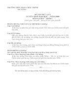 ĐỀ THI THỬ LẦN I TUYỂN SINH ĐẠI HỌC – NĂM 2009 MÔN LỊCH SỬ - KHỐI C
