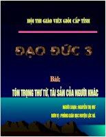 Dao duc 3- Ton trong thu tu tai san cua nguoi khac (tiet 2)