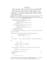 Chủ đề: Ứng dụng tập giá trị của hàm số để tìm giá trị lớn nhất, giá trị nhỏ nhất và chứng minh bất dẳng thức