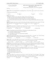 đề kiểm tra phần dao động cơ số 3(Trọng tâm - dao động tắt dần, cưỡng bức, cộng hưởng, ĐK tồn tại dao động, con lắc đơn)
