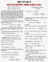 Một số gợi ý khi giải phương trình lượng giác