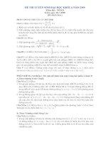 Đề và ĐA chính thức-Toán khối A (4.7.2009)