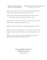đề kiểm tra học kì II sinh 8