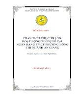 Phân tích thực trạng hoạt động tín dụng tại ngân hàng TMCP phương đông – chi nhánh an giang