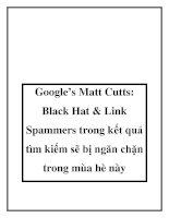 Google's Matt Cutts: Black Hat & Link Spammers trong kết quả tìm kiếm sẽ bị ngăn chặn trong mùa hè này