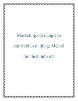Marketing nội dung cho các thiết bị di động một số thủ thuật hữu ích