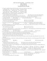 ĐỀ THI THỬ ĐẠI HỌC MÔN SINH HỌC ĐỀ SỐ 10