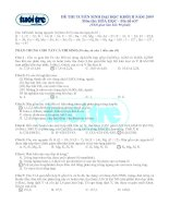 Đề thi và đáp án môn hóa khối b năm 2009