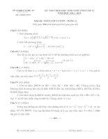 ĐỀ THI CHỌN HỌC SINH GIỎI TỈNH LỚP 12 NĂM HỌC 2011 – 2012 MÔN TOÁN LỚP 12 THPT - SỞ GD&ĐT NGHỆ AN