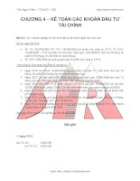 Bài tập kế toán các khoản đầu tư tài chính