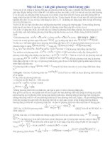 Ôn thi TN-Một số lưu ý khi giải phương trình lượng giác