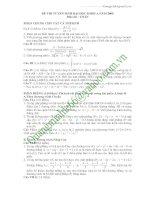 Đáp án đề thi Đại học khối A năm 2009