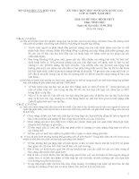 KỲ THI CHỌN học SINH GIỎI QUỐC GIA lớp 12 THPT năm 2011, môn SINH học