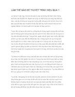 LÀM THẾ nào để THUYẾT TRÌNH HIỆU QUẢ  tài liệu rất hữu ích