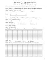 Bài thi và đáp án Toán Lớp 1-Năm học:2008-2009