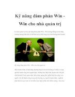 Kỹ năng đàm phán win win cho nhà quản trị