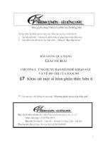 Bài giảng: Khảo sát sự biến thiên và vẽ đồ thị của một số hàm phân thức hữu tỉ (Giải tích 12 - Chương I: ỨNG DỤNG ĐẠO HÀM ĐỂ KHẢO SÁT VÀ VẼ ĐỒ THỊ HÀM SỐ)