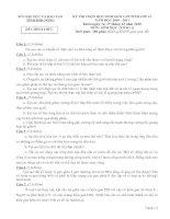 ĐỀ THI CHỌN HỌC SINH GIỎI CẤP TỈNH LỚP 12 THPT NĂM HỌC 2010-2011 MÔN SINH HỌC - SỞ GIÁO DỤC VÀ ĐÀO TẠO ĐẮK NÔNG