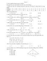 đề toán 7 trắc nghiệm và tự luận