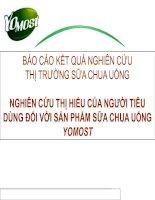 NGHIÊN CỨU THỊ TRƯỜNG SỮA CHUA UỐNG NGHIÊN CỨU THỊ HIẾU CỦA NGƯỜI TIÊU DÙNG ĐỐI VỚI SẢN PHẨM SỮA CHUA UỐNG