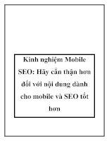 Hãy cẩn thận hơn đối với nội dung dành cho mobile và SEO tốt hơn