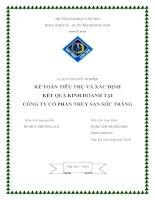 Luận văn tốt nghiệp kế toán tiêu thụ và xác định kết quả kinh doanh tại Công ty cổ phần thủy sản Sóc Trăng