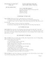 ĐỀ THI CHỌN HỌC SINH GIỎI LỚP 12 NĂM HỌC 2011-2012 MÔN SINH HỌC – SỞ GIÁO DỤC VÀ ĐÀO TẠO LONG AN
