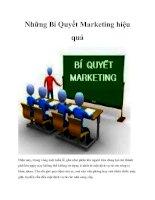 Những bí quyết marketing hiệu quả