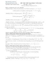 Đề thi thử đại học môn toán năm 2011   SỞ GD & ĐT HƯNG YÊN