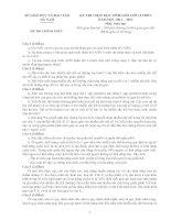 ĐỀ THI CHỌN HỌC SINH GIỎI LỚP 12 THPT NĂM HỌC 2011-2012 MÔN SINH HỌC - SỞ GIÁO DỤC VÀ ĐÀO TẠO HÀ NAM