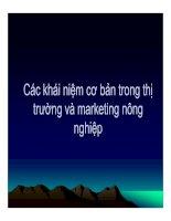 Các khái niệm cơ bản trong thị trường và marketing nông nghiệp