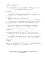 Đề thi+ Đáp án HSG lớp 11(08-09)