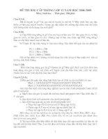 Đề và đáp án thi HSG lớp 12 (08-09)