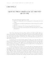 CHƯƠNG 2: LỊCH SỬ PHÁT TRIỂN CÁC LÝ THUYẾT QUẢN TRỊ