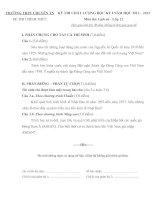 ĐỀ THI CHẤT LƯỢNG HỌC KỲ I NĂM HỌC 2012-2013 TRƯỜNG THPT CHUYÊN THÁI NGUYÊN MÔN LỊCH SỬ  LỚP 12