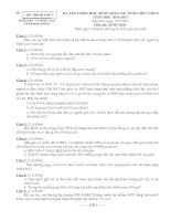 ĐỀ THI CHỌN HỌC SINH GIỎI TỈNH LỚP 9 THCS NĂM 2010 - 2011 MÔN SINH HỌC - SỞ GIÁO DỤC VÀ ĐÀO TẠO ĐẮK NÔNG