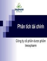 Phân tích tài chính công ty cổ phần dược phẩm imexpharm