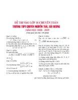 Đề thi - đáp án chuyên toán  tỉnh Hải Dương 08-09