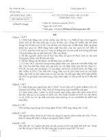 ĐỀ THI TUYỂN SINH LỚP 10 THPT NĂM HỌC 2012-2013 MÔN SINH HỌC CHUYÊN TỈNH BẠC LIÊU