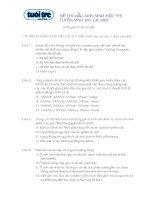 Đề & ĐA thi thử ĐHCĐ môn sinh (đề 001)