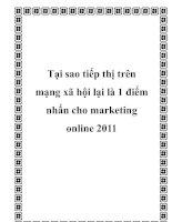 Tại sao tiếp thị trên mạng xã hội lại là 1 điểm nhấn cho marketing online 2011