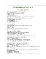 500 câu trắc nghiêm địa 12