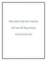 Nên khác biệt hóa website thế nào để tăng lượng conversion rate