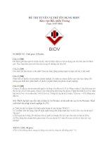 Đề thi tuyển tín dụng ngân hàng BIDV